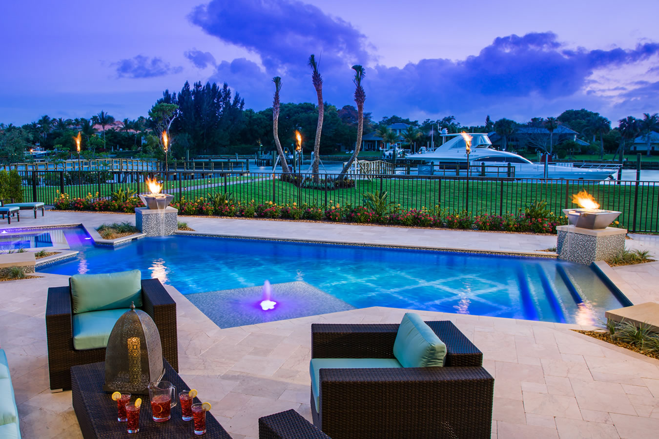 Water Features Fire Features Portfolio Of Aaa Custom Pools Inc